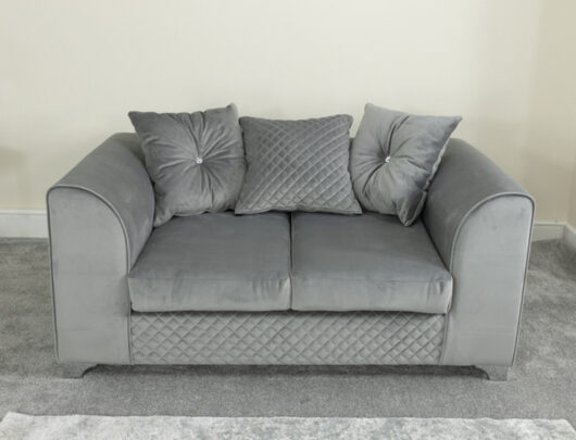 Charlotte Silver Grey 2 Seater Sofa