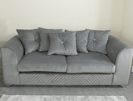 Charlotte Silver Grey 3 Seater Sofa