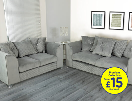 Charlotte Silver Grey Sofa Set