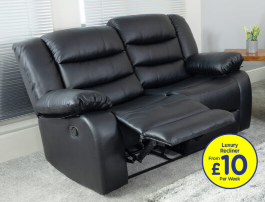 Empire Black 2 Seat Recliner Sofa