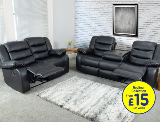 Empire Black Sofa Recliner Set