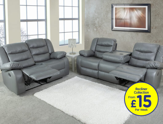 Empire Pigeon Grey Recliner Sofa Set