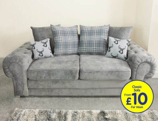 Juliet Dove Grey 3 Seater Sofa