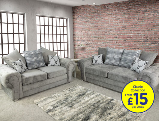 Juliet Dove Grey Sofa Set